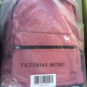 Pink Victoria Secret Campus Backpack front pocket